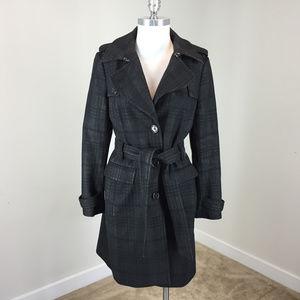 Banana Republic M Black Gray Long Wool Coat